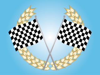 Two chequered flags and a laerel wreath