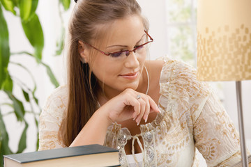Student girl reading book