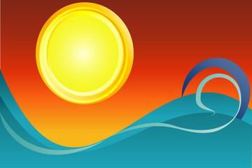 Paesaggio sole calante astratto