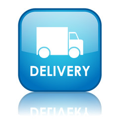 "Square ""DELIVERY"" button with reflecton (blue)"