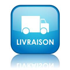 """Bouton carré """"LIVRAISON"""" avec reflet (bleu)"""