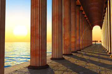 Pillars and sea