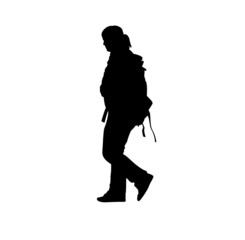 The man with a backpack.Vector illustration