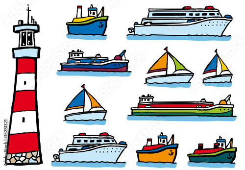 Lot de dessins de bateaux et d 39 un phare fichier - Dessin de bateau facile ...