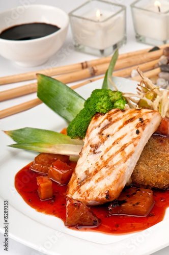 """Mahi Mahi Orientale Served"" Stock photo and royalty-free ..."