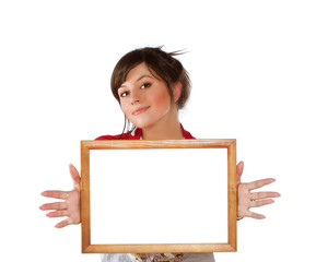 woman with empty frame