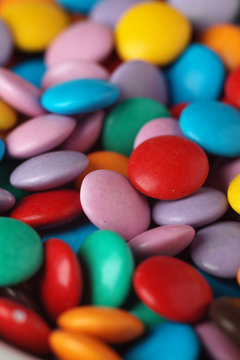 Closeup of colourful chocolate sweets