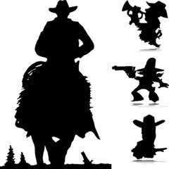 cowboy western vector silhouettes