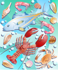 vector set sea animals
