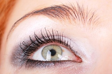 eye with makeup close up..