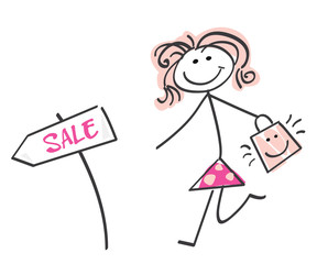 Sale girl - loving shopping! Doodle vector character.