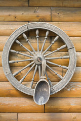 wooden wheel and spoon