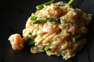 Seafood Risotto on Black Plate