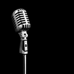 microphone metal black background