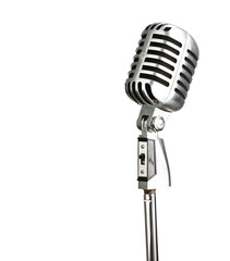 microphone metal white background