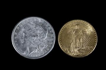 Silver dollar and Gold twenty dollars