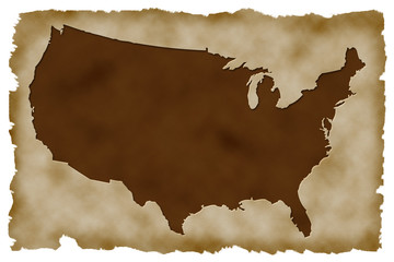Old Paper Background with american map