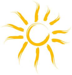 Sonne gemalt Pinsel