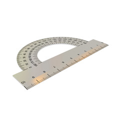 3D protractor isolated on white.