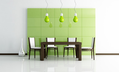 green  modern dining room  with wooden table