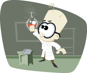 Retro Cartoony Scientist with Glass Bowl