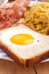 eggy bread, eggs and bacon