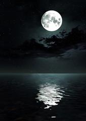 星空と満月