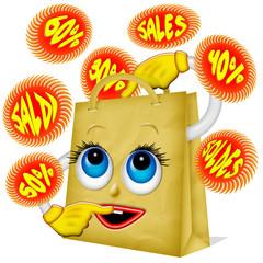 Sacchetto Saldi-Sales Bag Cartoon-Sachet Soldes 2