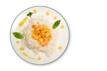 riz et crevettes sur assiette