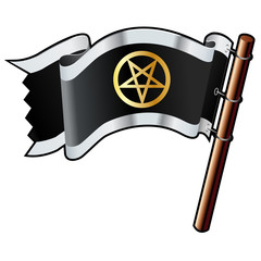 Pentagram religious icon on pirate flag