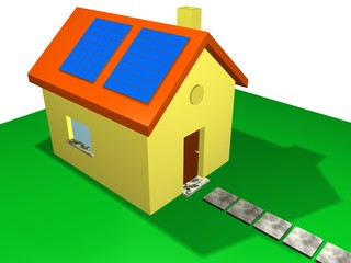 solar pannels, house