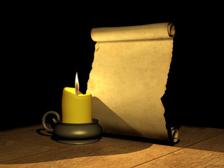 Burning candle and the ancient manuscript