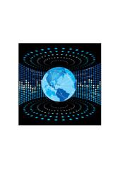 globe with chart