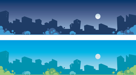 Vector silhouette of city skyline