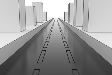 City road. Hi-res digitally generated image.
