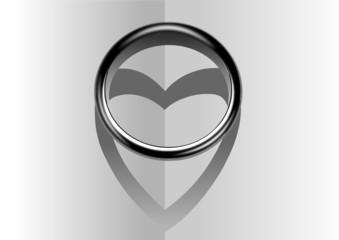 Ring mit Herz & Schatten als Zeichern & Symbol