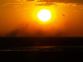 Australian Sunset with bushfire-smoke at the hrizon