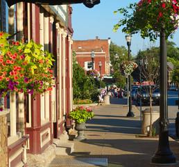 Colorful sidewalk scene