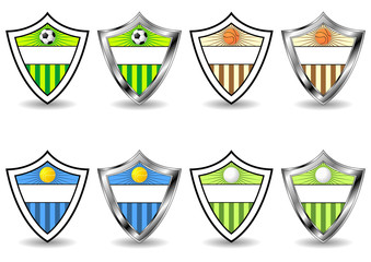 Soccer tennis basketball and golf sport shields over white