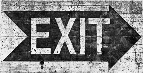 Large grungy EXIT sign