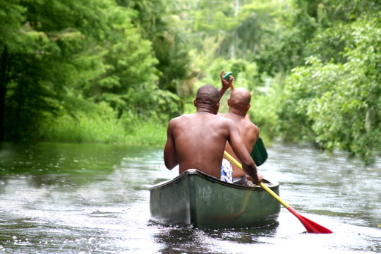 Two young African American  in kayak