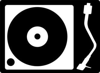 Record Player Icon Round Black