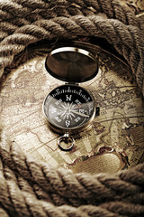 Close up view of the compass on old map
