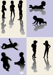 set of body silhouettes with reflections