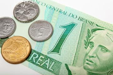 Brazil reais money currency paper bill and coins