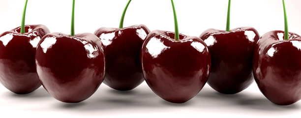 Shot of six isolated red cherries