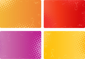 Business cards, banners with floral and halftone designs