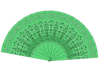 The green fan isolated on a white background