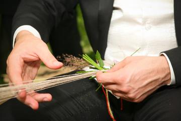 Businessman hands with grass