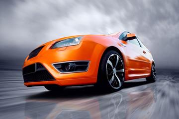 Printed roller blinds Fast cars Beautiful orange sport car on road